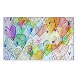 Community Hearts Color Sticker (Rectangle 50 pk)