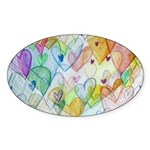 Community Hearts Color Sticker (Oval 10 pk)