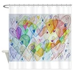 Community Hearts Color Shower Curtain