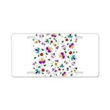 Swirling Floral Pattern Aluminum License Plate
