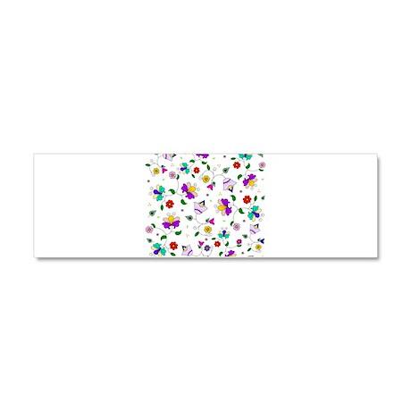 Swirling Floral Pattern Car Magnet 10 x 3
