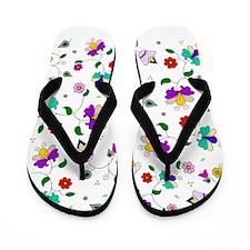 Swirling Floral Pattern Flip Flops