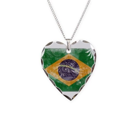 Brazil Flag Necklace Heart Charm
