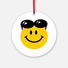 Perched Sunglasses Smiley Ornament (Round)