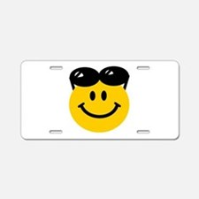Perched Sunglasses Smiley Aluminum License Plate