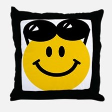 Perched Sunglasses Smiley Throw Pillow