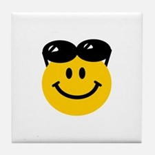 Perched Sunglasses Smiley Tile Coaster