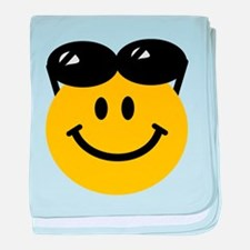 Perched Sunglasses Smiley baby blanket