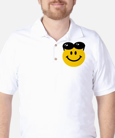 Perched Sunglasses Smiley Golf Shirt