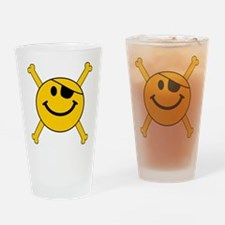 Pirate Smiley Face Drinking Glass
