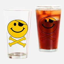 Skull and Cross Bones Smiley Drinking Glass