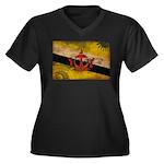 Brunei Flag Women's Plus Size V-Neck Dark T-Shirt