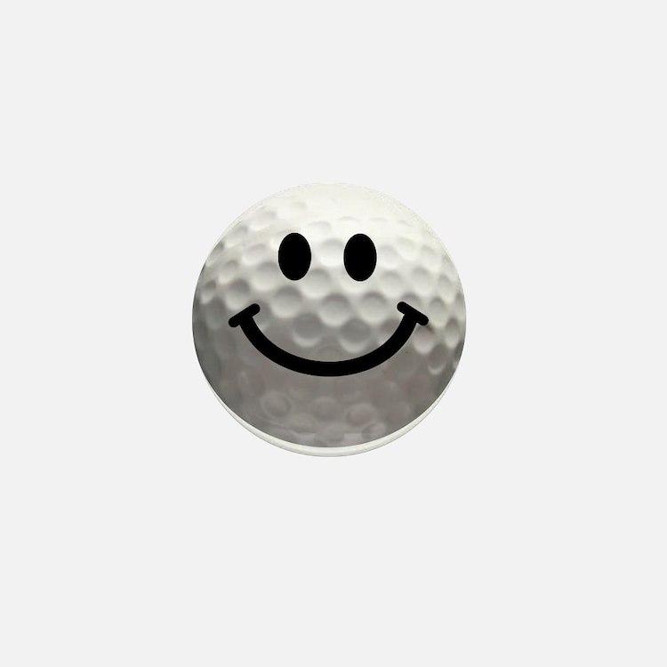Golf Ball Smiley Mini Button