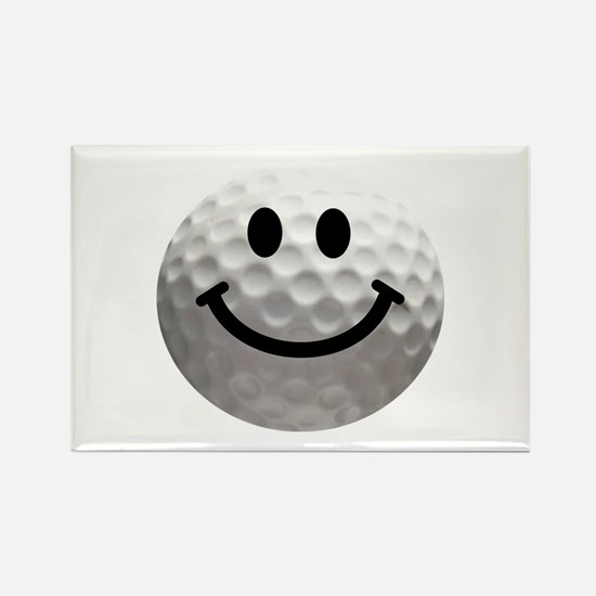 Golf Ball Smiley Rectangle Magnet