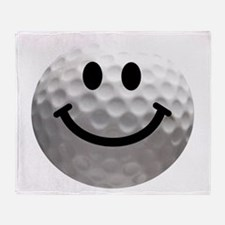 Golf Ball Smiley Throw Blanket