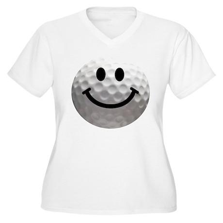 Golf Ball Smiley Women's Plus Size V-Neck T-Shirt