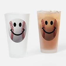 Baseball Smiley Drinking Glass