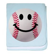 Baseball Smiley baby blanket
