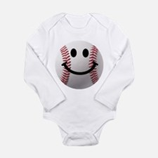 Baseball Smiley Long Sleeve Infant Bodysuit