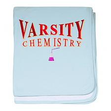 Varsity Chemistry in red baby blanket