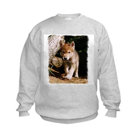 Approaching Wolf Pup Kids Sweatshirt