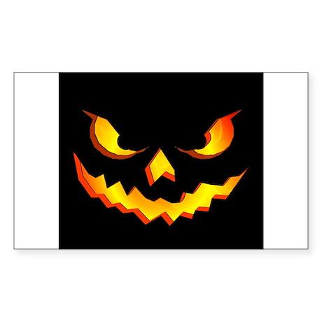 Halloween Pumpkin Face Sticker (Rectangle 50 pk)