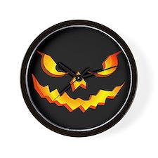 Halloween Pumpkin Face Wall Clock