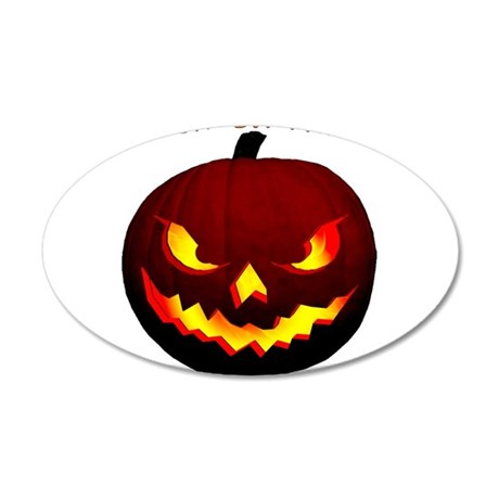 Scary Halloween Pumpkin 22x14 Oval Wall Peel