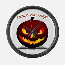 Scary Halloween Pumpkin Large Wall Clock