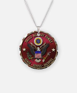 Proud Military Family Necklace Circle Charm