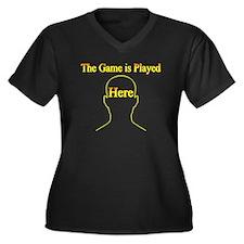 Head Game Women's Plus Size V-Neck Dark T-Shirt