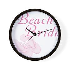 Pink Beach Bride Wall Clock