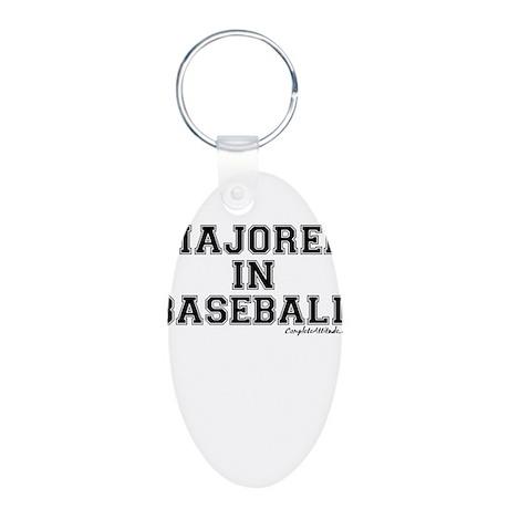 Majored In Baseball Aluminum Oval Keychain
