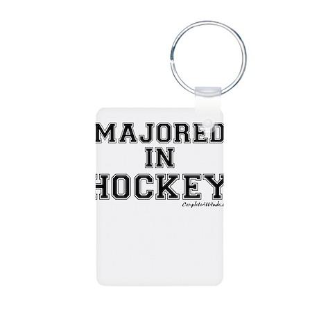 Majored In Hockey Aluminum Photo Keychain