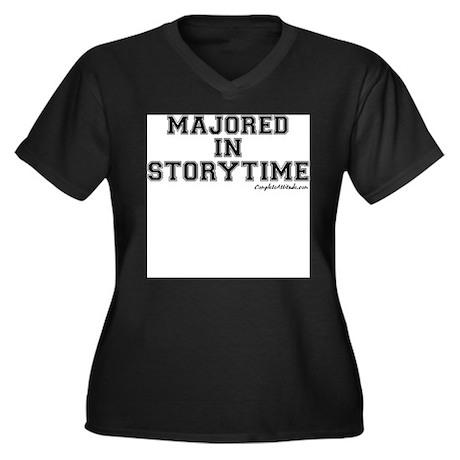 Majored In Storytime Women's Plus Size V-Neck Dark