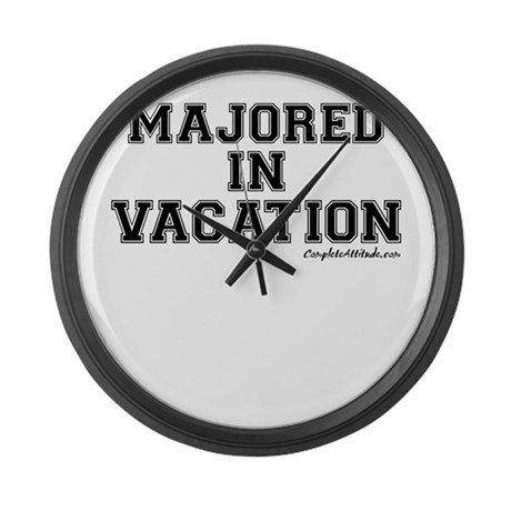 Majored In Vacation Large Wall Clock