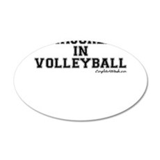Majored In Volleyball 22x14 Oval Wall Peel