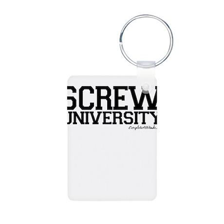 Screw University Aluminum Photo Keychain