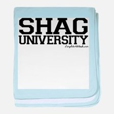Shag University baby blanket