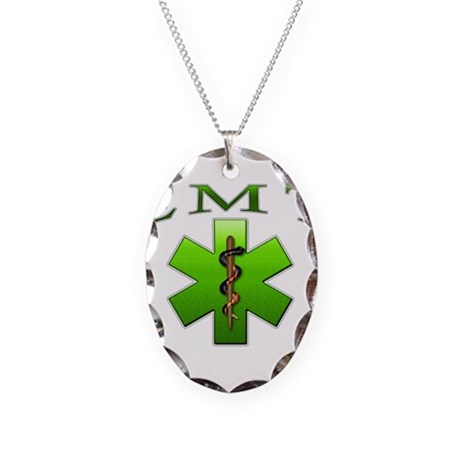 EMT(Green) Necklace Oval Charm