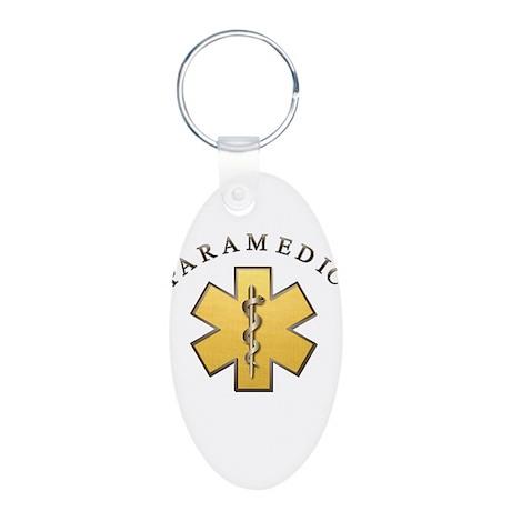 Paramedic(Gold) Aluminum Oval Keychain
