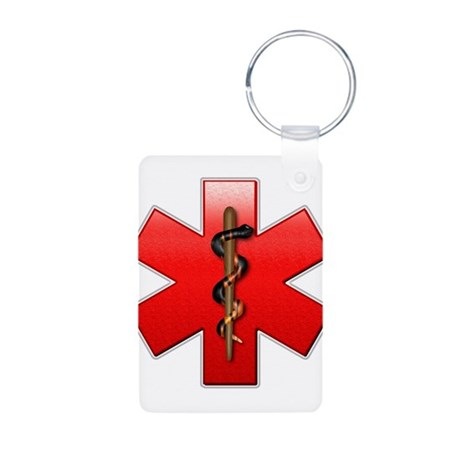 Star of Life(Red) Aluminum Photo Keychain
