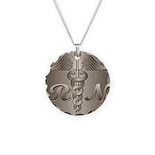 RN Caduceus Gold Necklace Circle Charm