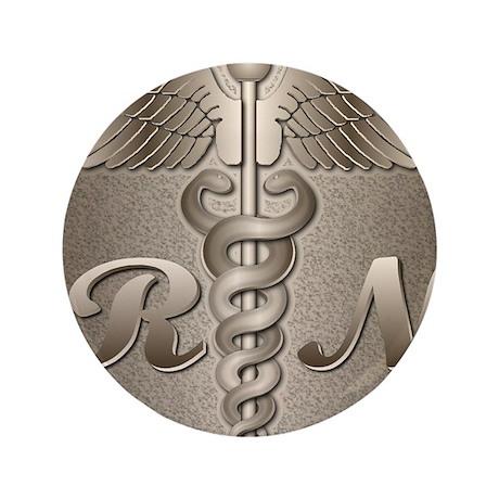 """RN Caduceus Gold 3.5"""" Button (100 pack)"""