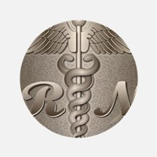 "RN Caduceus Gold 3.5"" Button"