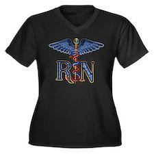 RN Caduceus Women's Plus Size V-Neck Dark T-Shirt