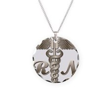 RN Caduceus Necklace Circle Charm