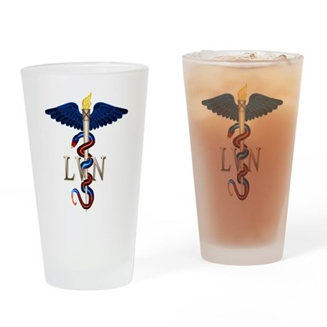 LVN Caduceus Drinking Glass