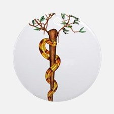 Staff of Aesculapius Ornament (Round)