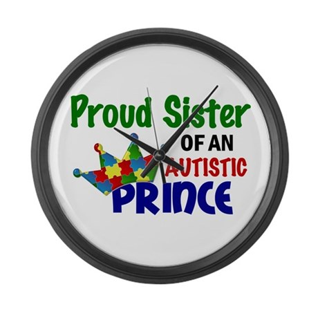 Proud Of My Autistic Prince Large Wall Clock